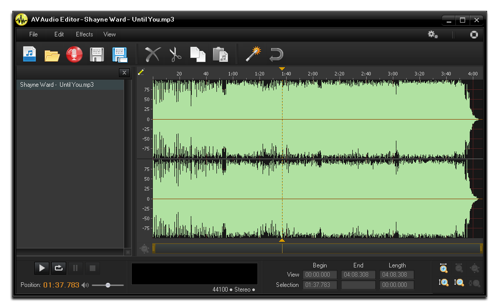 The selected file in Waveform Editor