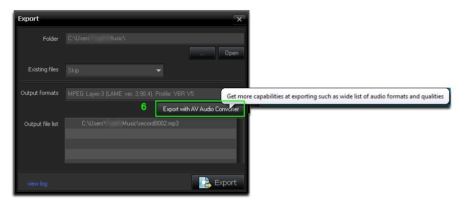 Export with AV Audio Converter