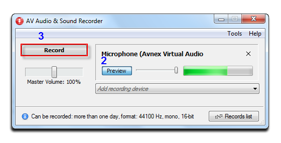 Avnex virtual audio device