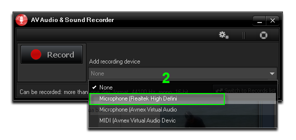 Choose Microphone (Realtek High Definition)