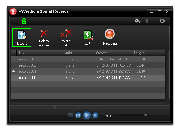 Export the recording