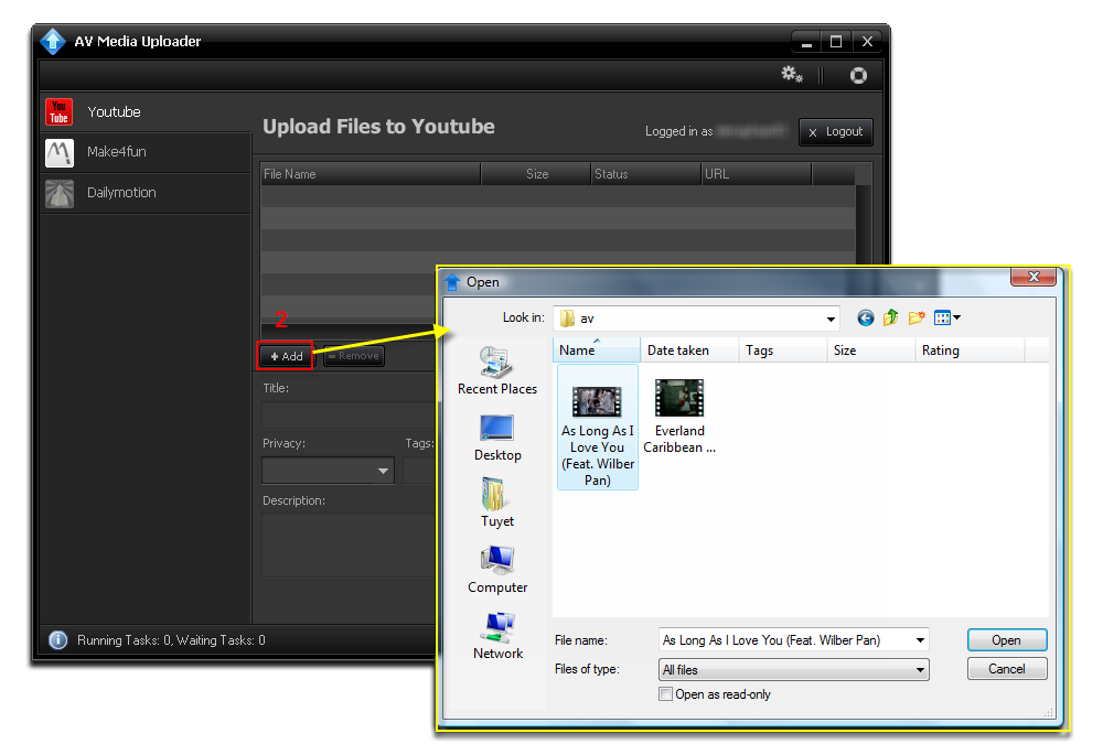Add file on YouTube