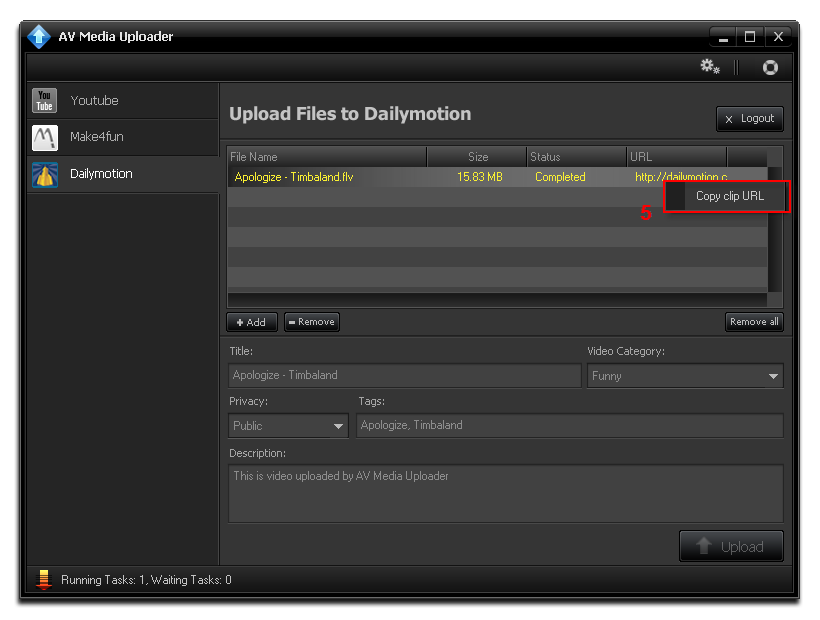 Copy url on Dailymotion