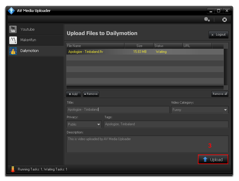 Select upload button on Dailymotion