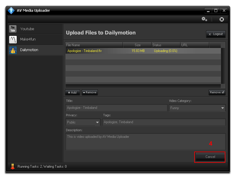 Stop upload on Dailymotion