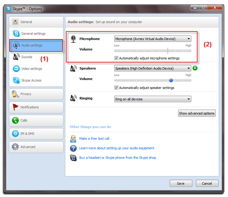 Skype - Audio settings