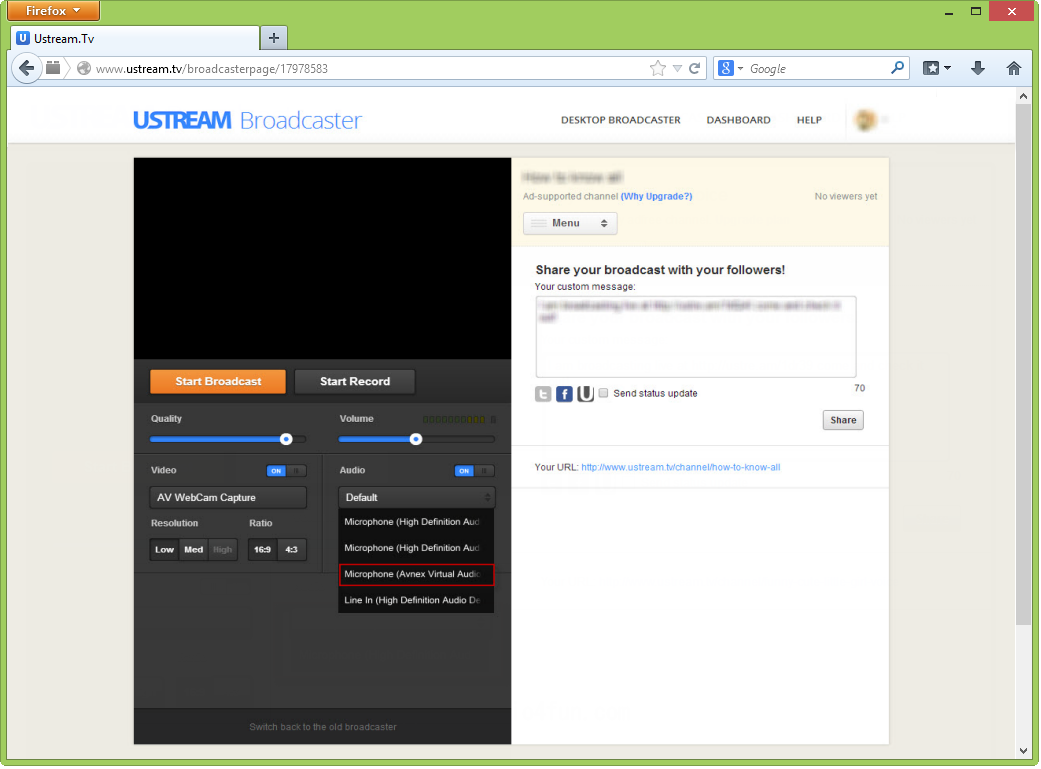 Adjust Audio Source on Ustream TV
