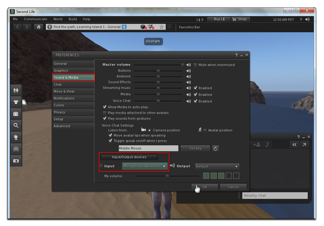 Change the Audio settings of Second Life
