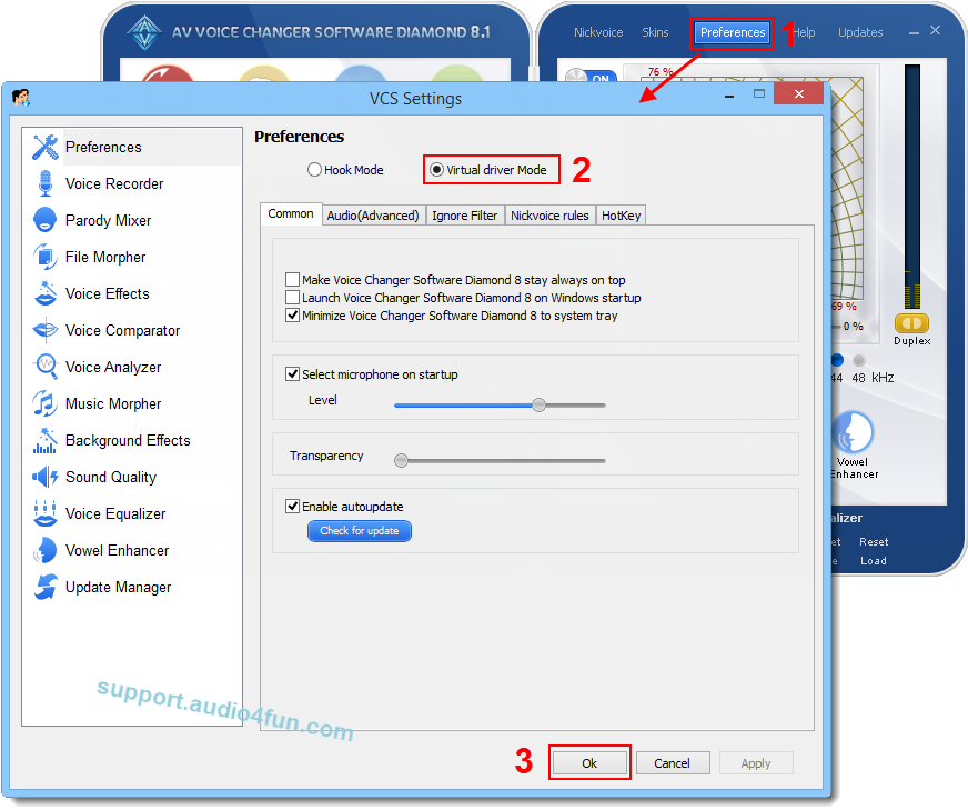 Easily change your voice in TeamViewer online meeting - Audio4fun