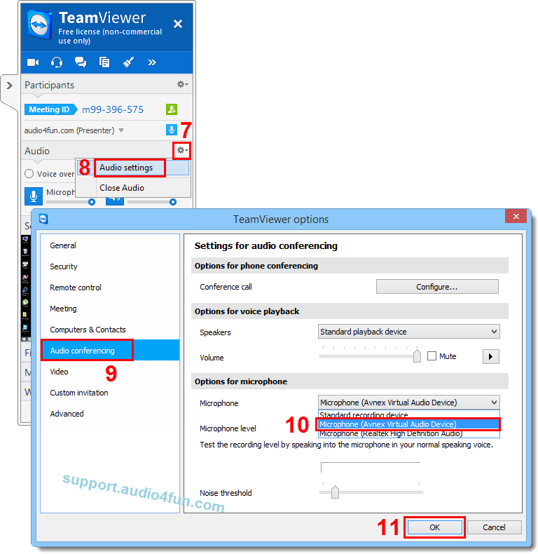 Fig 3: Adjust Audio setting of TeamViewer