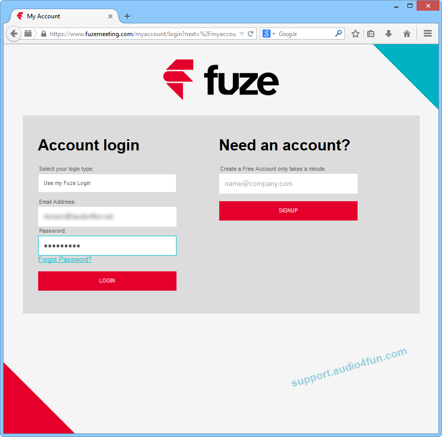 Fig 2: Log in to Fuze.com