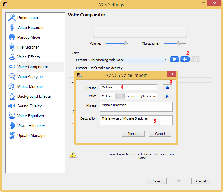 Voice Import dialog box