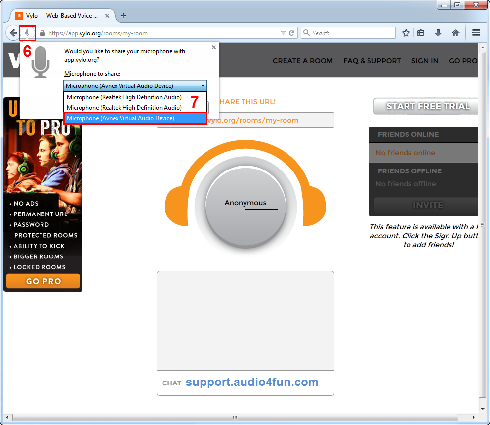 Fig 4: Adjust Microphone setting in Vylo.org