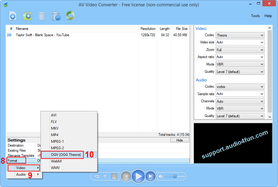 Choose video output format