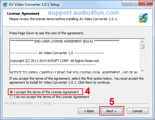 Fig 3: Accept the terms in the License Agreement