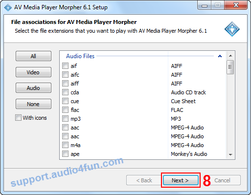 Fig 6: Select the file extensions that you want to play with MPM