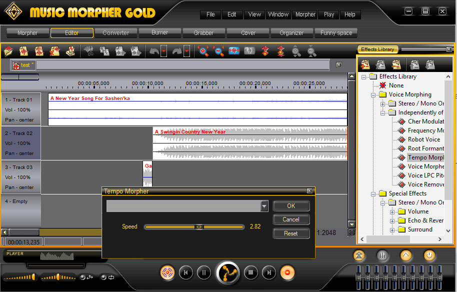 Music Morpher Gold: Add effects