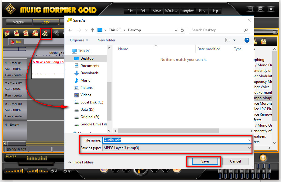 Music Morpher Gold: Save File