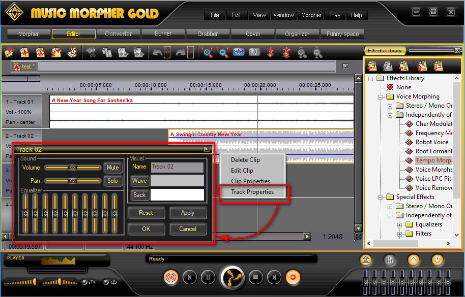 Music Morpher Gold: Track Properties