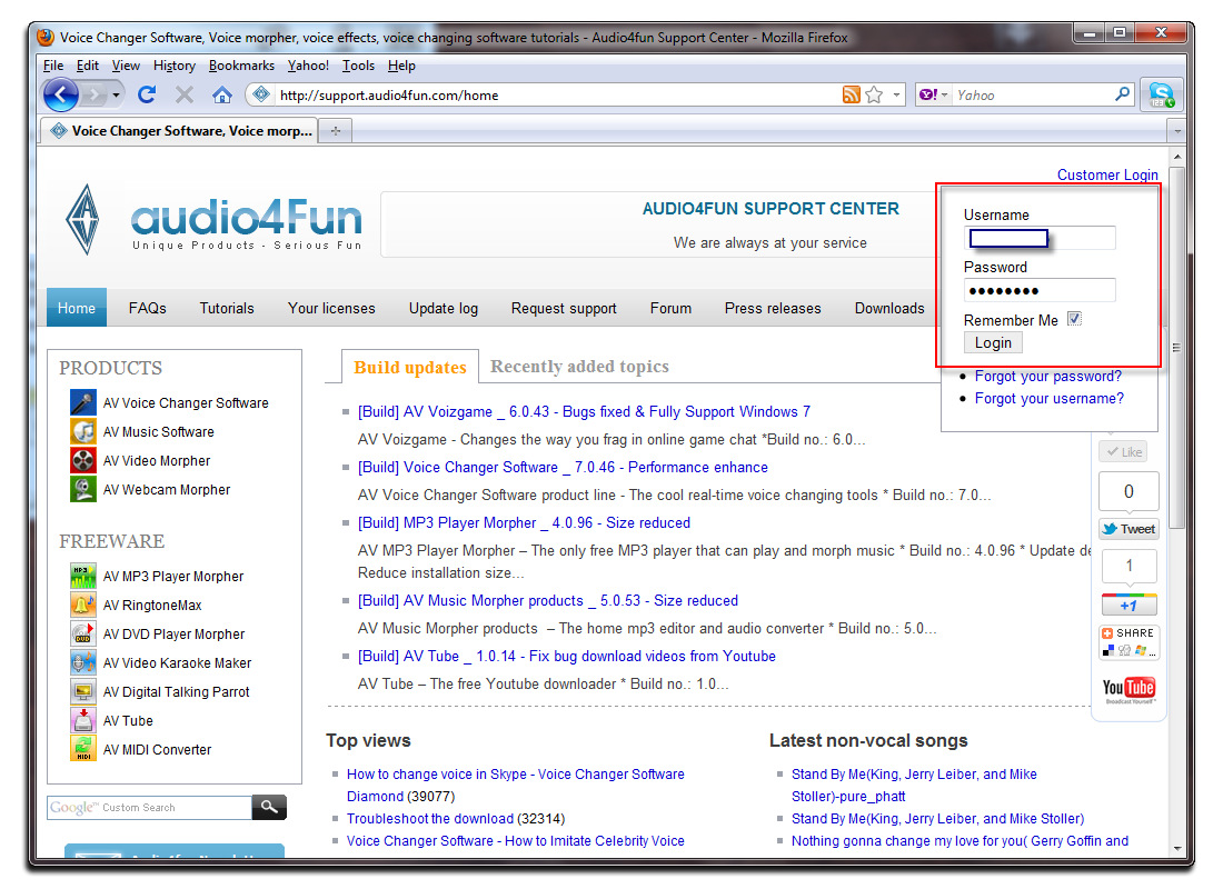 Figure 5: Login in Support Audio Center page
