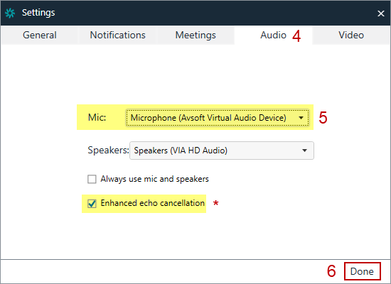 Fig 3: Amazon Chime Audio Settings