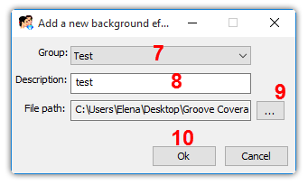 Add background effect dialog box