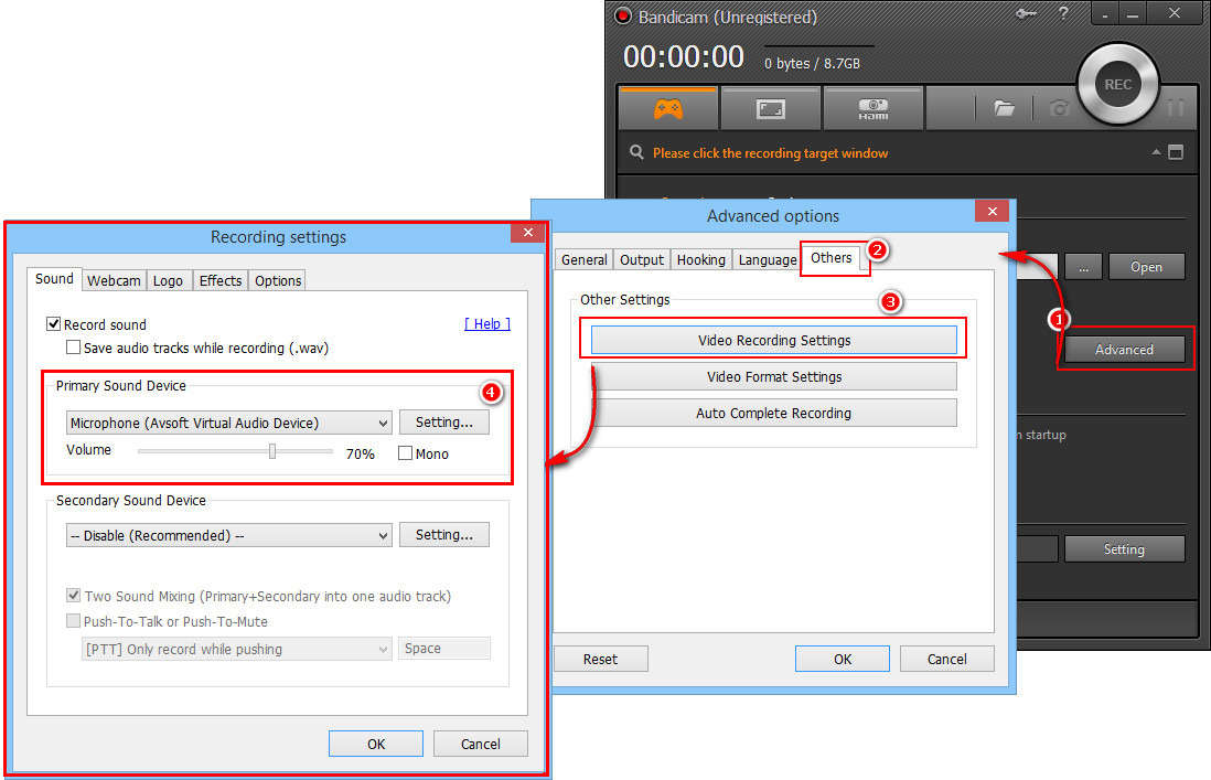 Fig 2: Select Audio Settings in Bandicam
