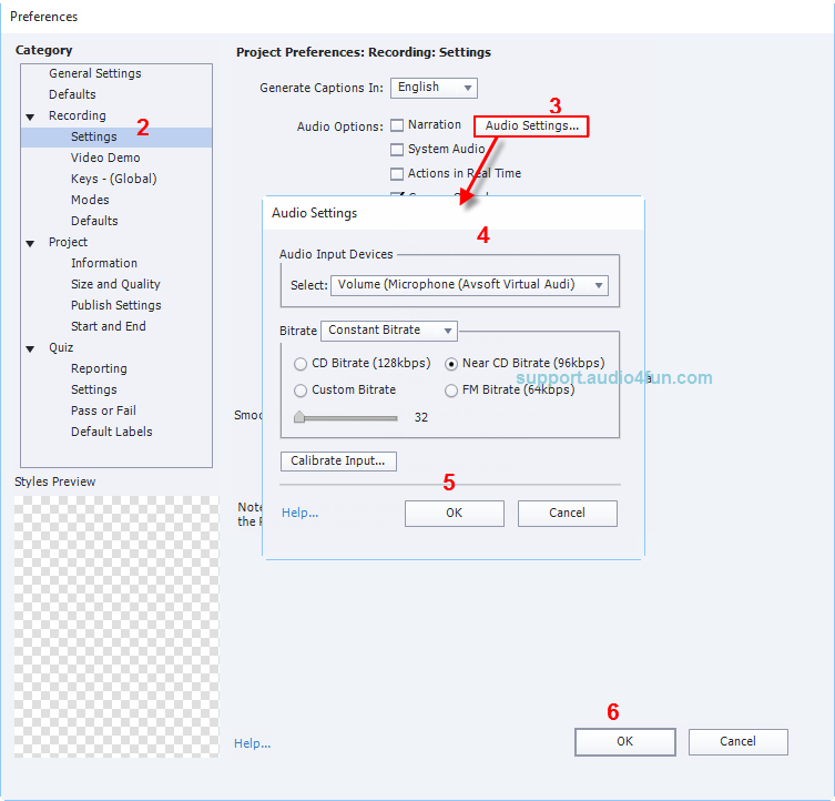 Audio settings of Adobe Captivate
