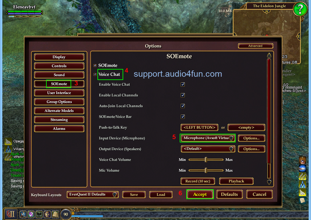 Fig 2 Change Audio settings of EverQuest II