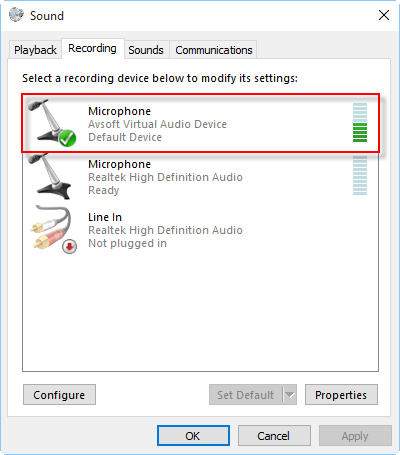 Choose Microphone (AVsoft Virtual Audio Device)