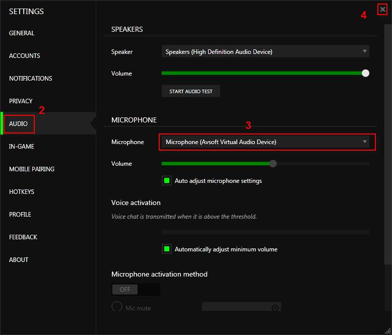 Change Audio settings of Razer Comms