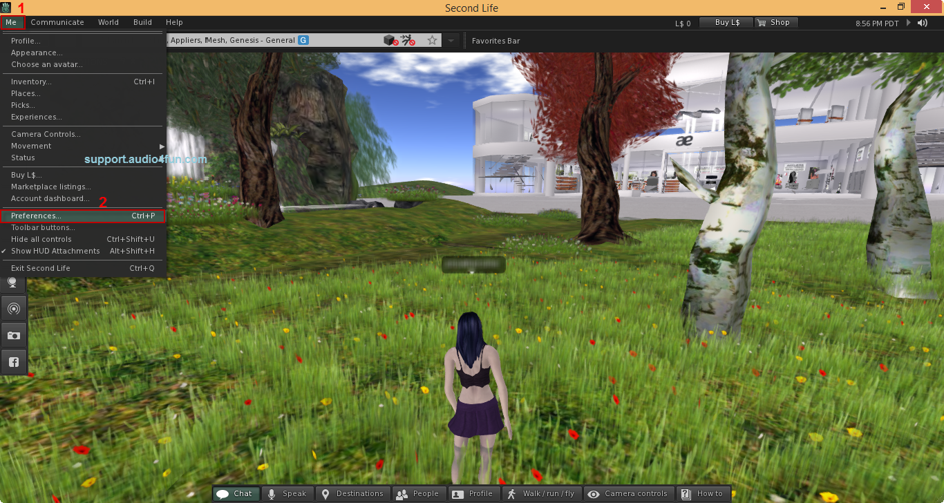 Audio settings of Second Life