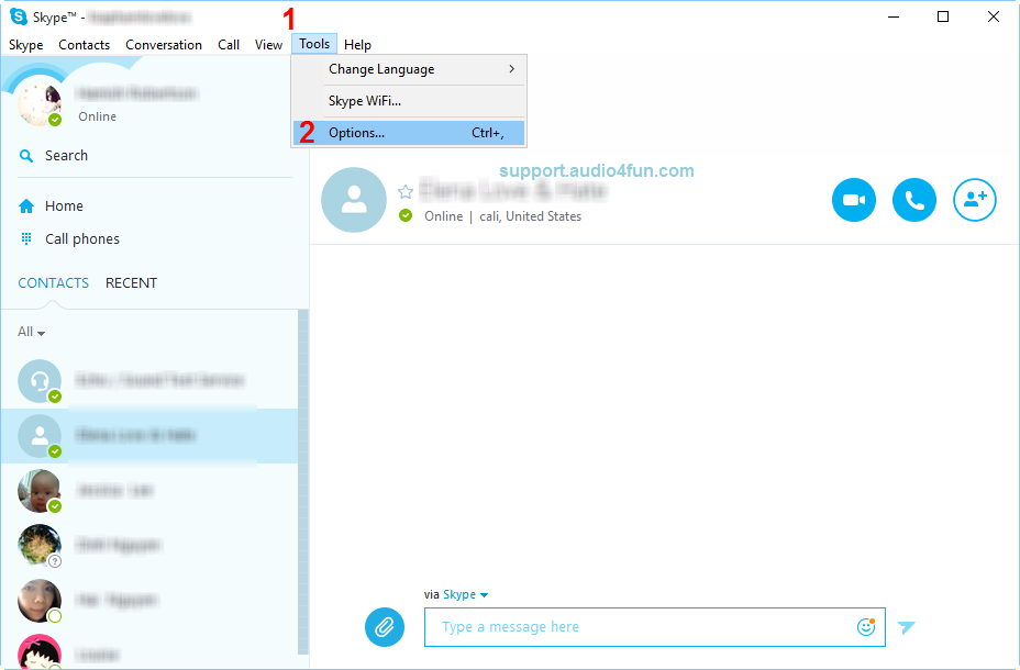 Audio settings of Skype