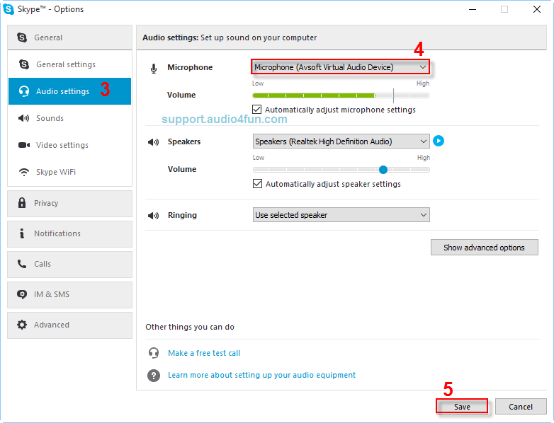 Audio settings of Skype 1