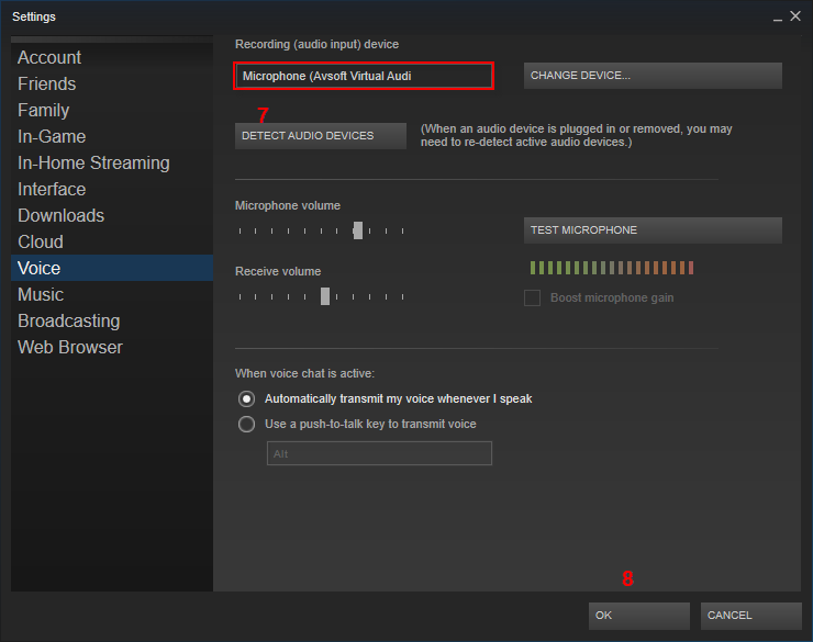 Audio settings of Steam Game
