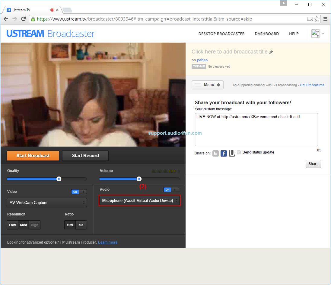 Audio settings of Ustream.tv