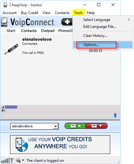VoipConnect main
