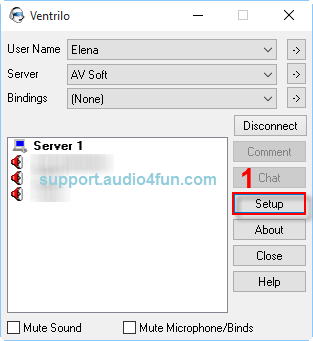 Audio settings of Ventrilo