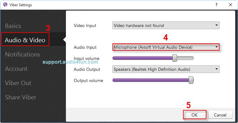 Audio settings of Viber