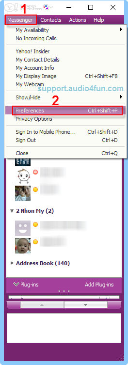 Audio settings of Yahoo Messenger 11
