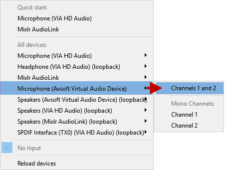 Fig 3: Choose Avsoft Virtual Audio Device as Input Source in Mixlr