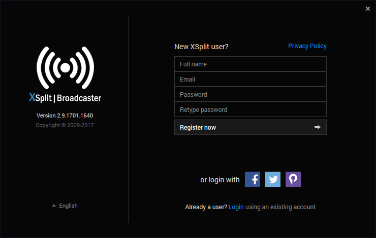 Fig 2: XSplit Broadcaster Login Screen