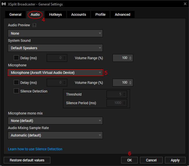 Fig 4: XSplit Audio Settings
