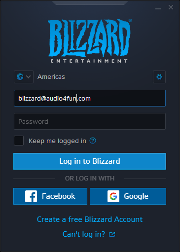 Blizzard Log In