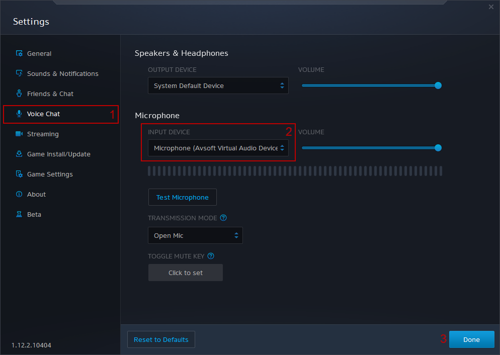 Blizzard Audio Input Settings