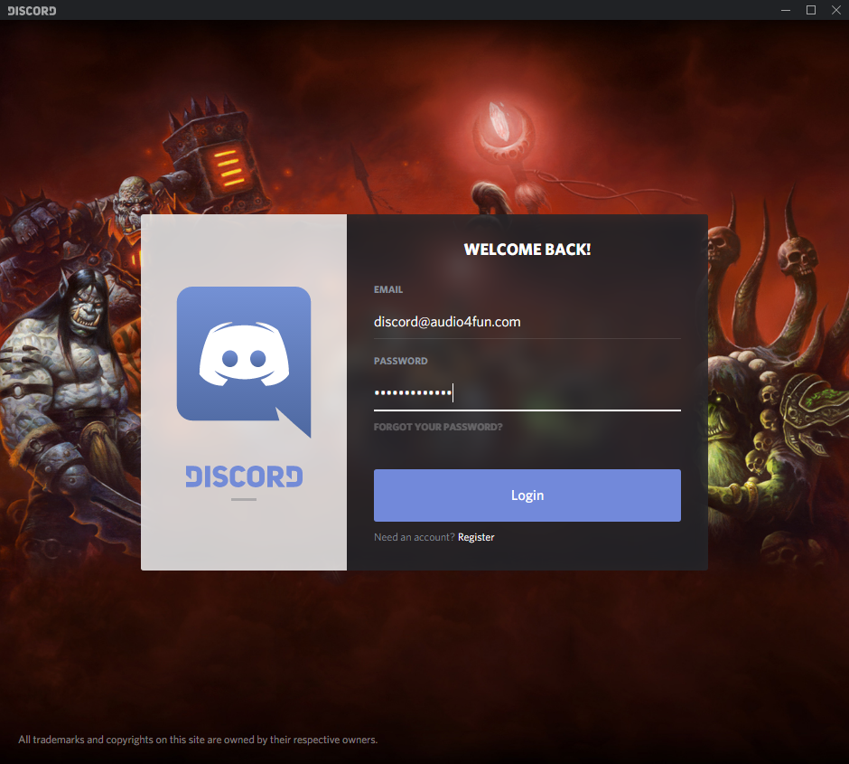 Fig 2: Discord - Log in