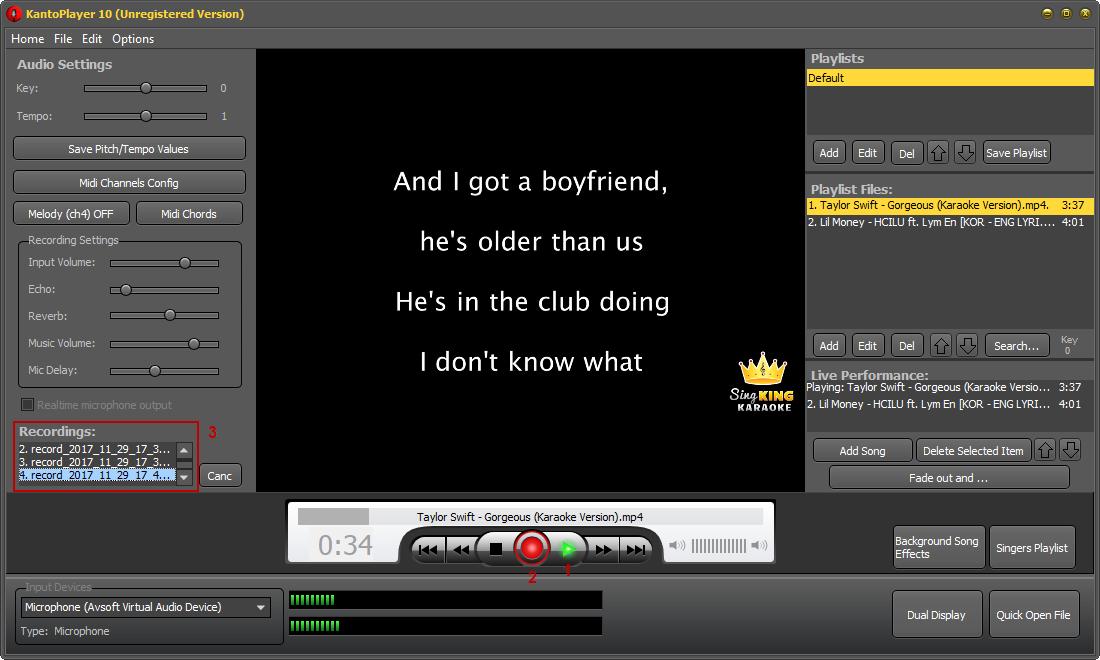 Fig 3: Kanto Karaoke - Record karaoke