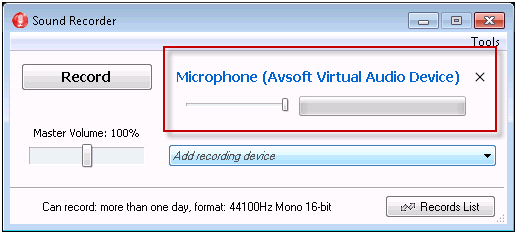 save recording in mono type 4