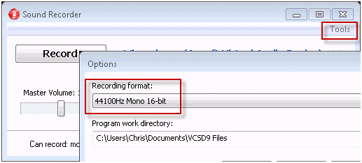 save recording in mono type 6