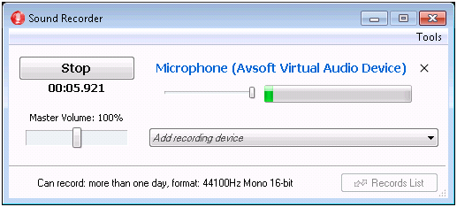save recording in mono type 8